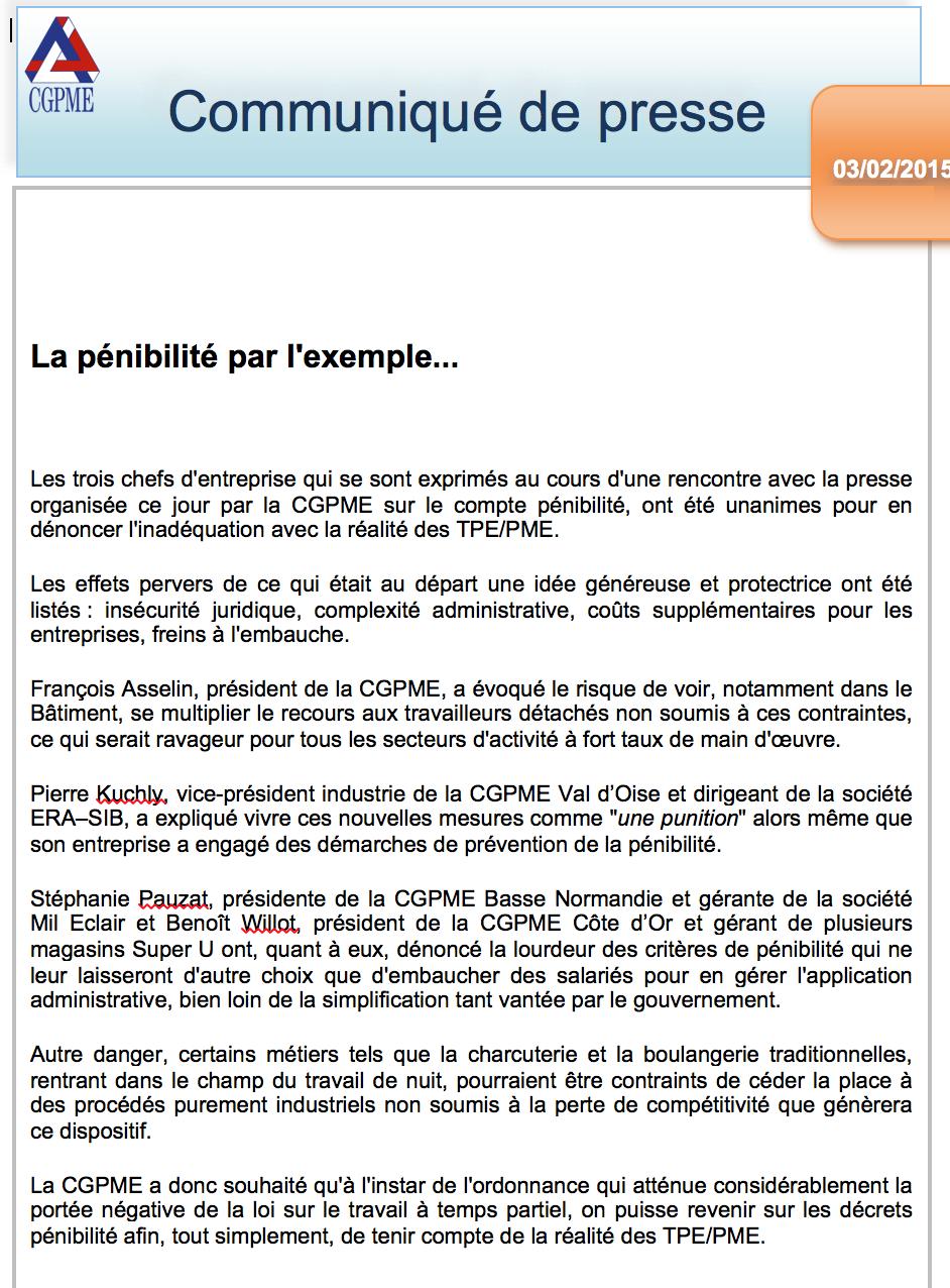 communiqué de presse CGPME compte de pénibilité