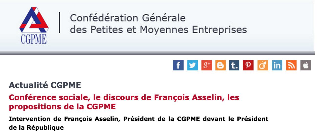Conférence sociale, discours de François Asselin