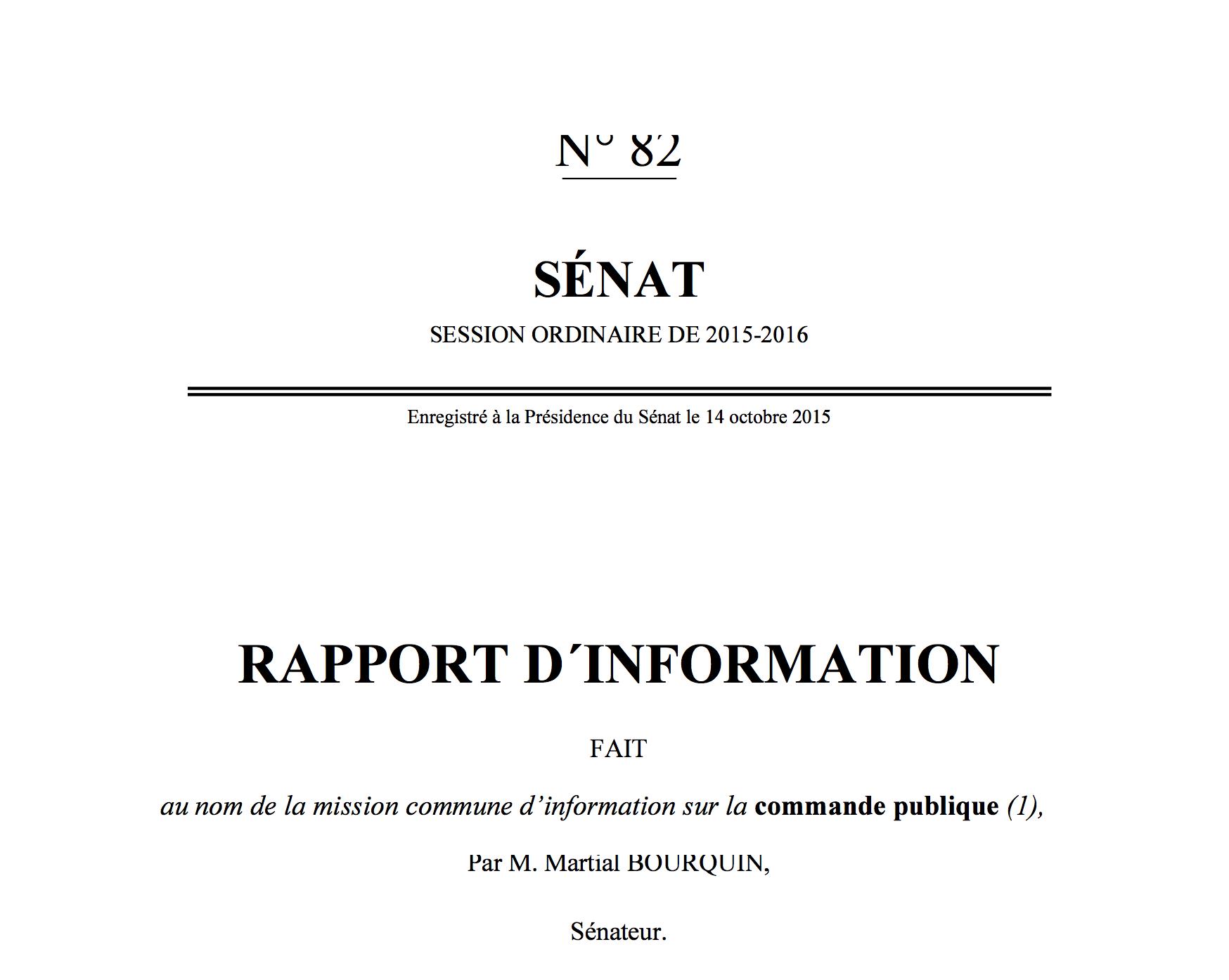 Rapport parlementaire - marchés publics